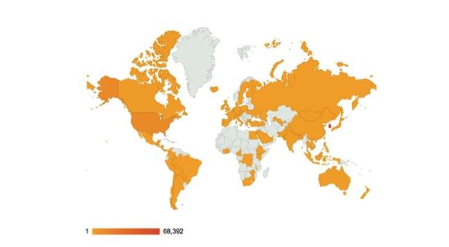 78개국, 색이 짙을수록 방문자가 많음