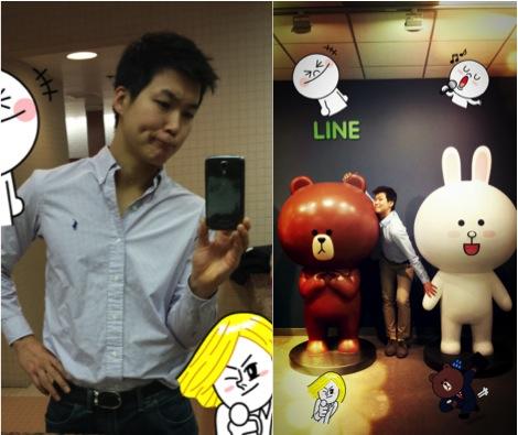LINE 캐릭터들과 물의를 빚는 사진 (표정은 캐릭터따라하다 실패한거)
